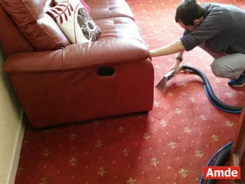 red luxury carpet cleaning service with deodorising and antibacterial spray