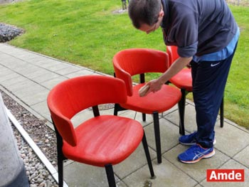 red office chairs cleaning