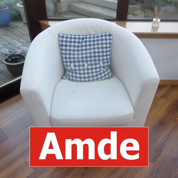 white fabric armchair perfect cleaned with logo in edinburgh