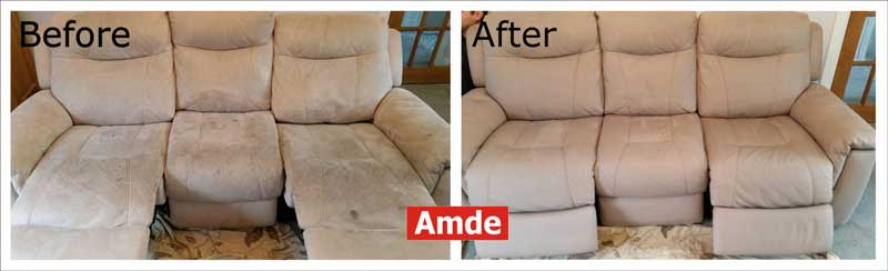 great result after large suded 3Seater Sofa cleaned in edinburgh